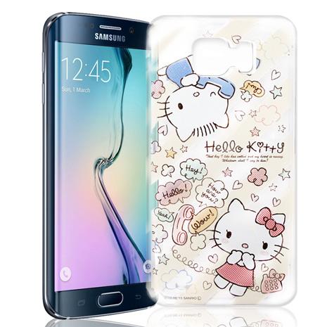 Hello Kitty 三星 Samsung Galaxy S6 Edge 透明軟式手機殼(熱線Kitty)