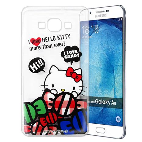 Hello Kitty 三星 SAMSUNG Galaxy A8 透明軟式手機殼(糖果HI)