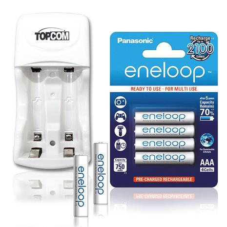 Panasonic ★eneloop 低自放鎳氫4號800mAh 充電電池(4顆入)+TOP智能雙迴充電器
