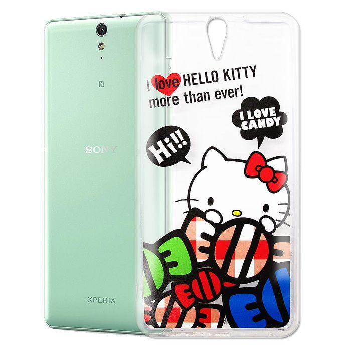 Hello Kitty SONY Xperia C5 Ultra 大大機 透明軟式手機殼(糖果HI)