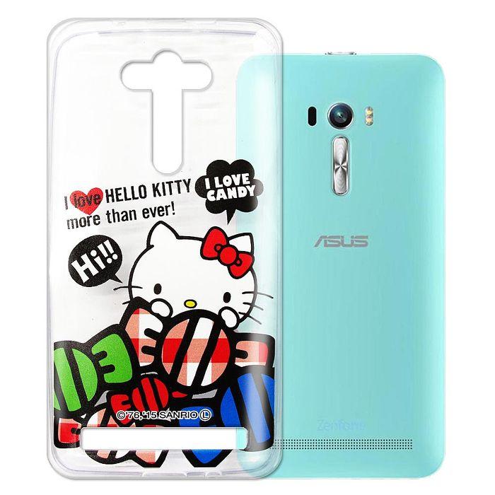 Hello Kitty  華碩Asus Zenfone Selfie ZD551KL 透明軟式手機殼(糖果HI)