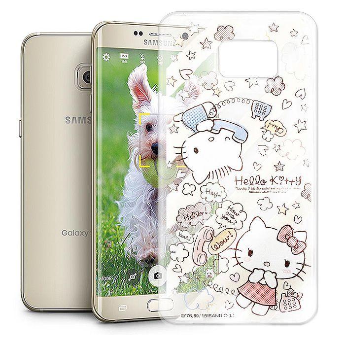 Hello Kitty 三星 Samsung Galaxy S6 Edge+ 透明軟式手機殼(熱線Kitty)