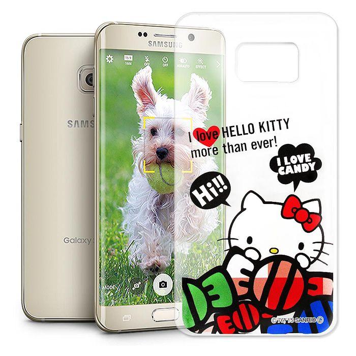 Hello Kitty 三星 SAMSUNG Galaxy S6 edge+ 透明軟式手機殼(糖果HI)