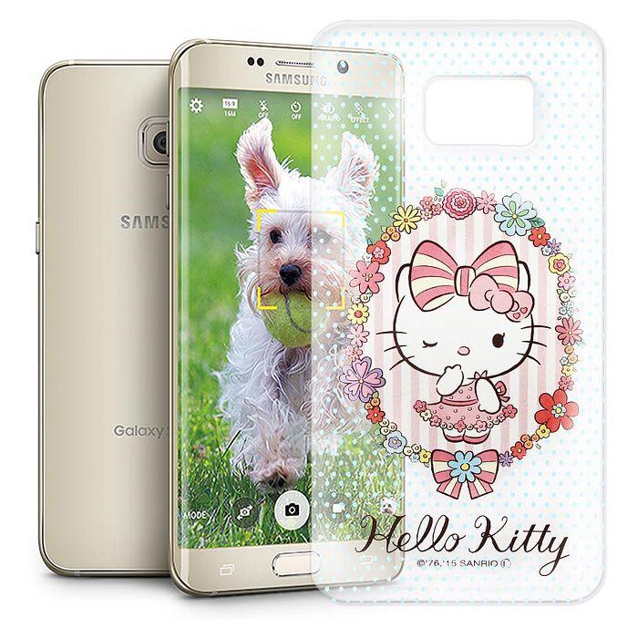 Hello Kitty 三星 Samsung Galaxy S6 Edge+ 透明軟式手機殼(花邊Kitty)