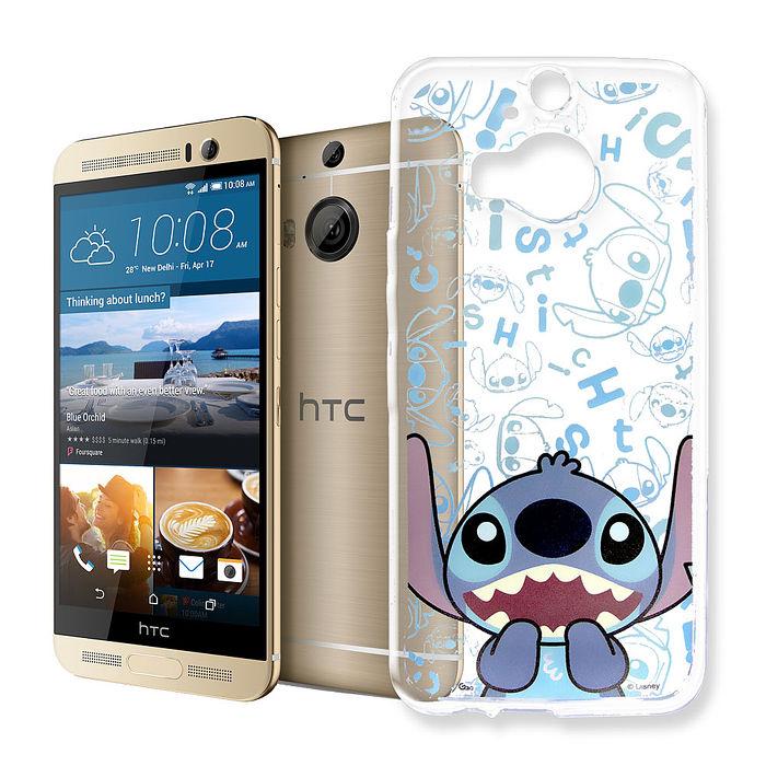 迪士尼授權正版 HTC One M9+ 大頭背景系列透明軟式手機殼(摀嘴史迪奇)