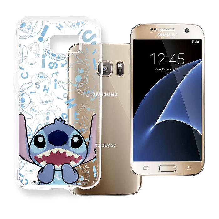 迪士尼授權正版  Samsung Galaxy S7 大頭背景系列 透明軟式手機殼(摀嘴史迪奇)