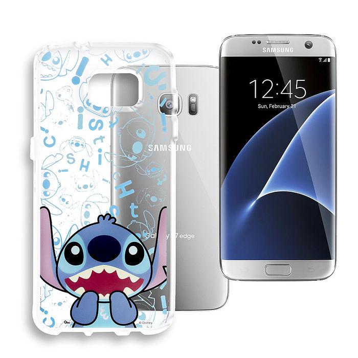 迪士尼授權正版 Samsung Galaxy S7 edge 大頭背景系列透明軟式手機殼(摀嘴史迪奇)