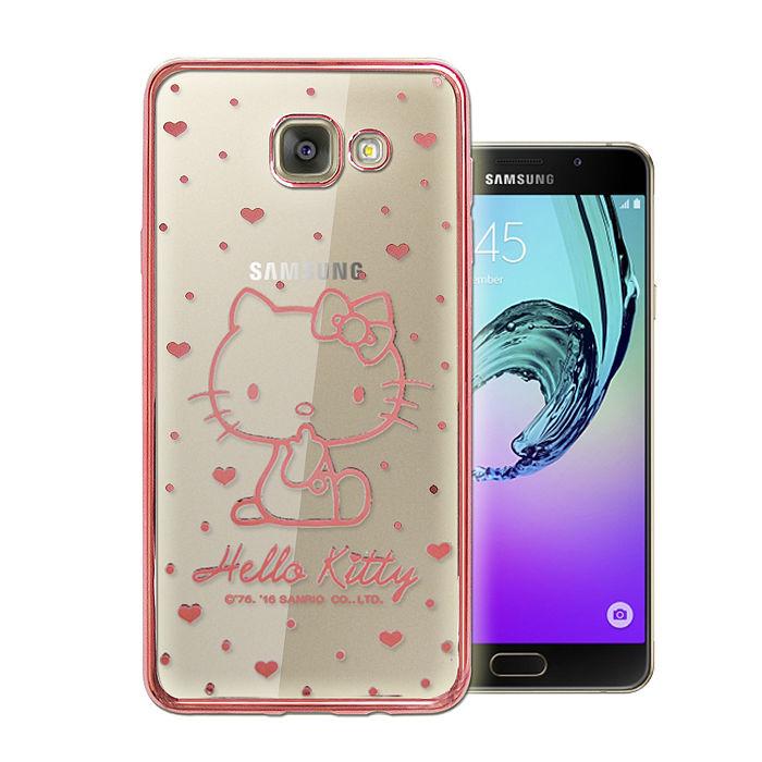 三麗鷗授權正版 Hello Kitty Samsung Galaxy A7 (2016) 雷雕電鍍透明軟式手機殼(愛心粉)