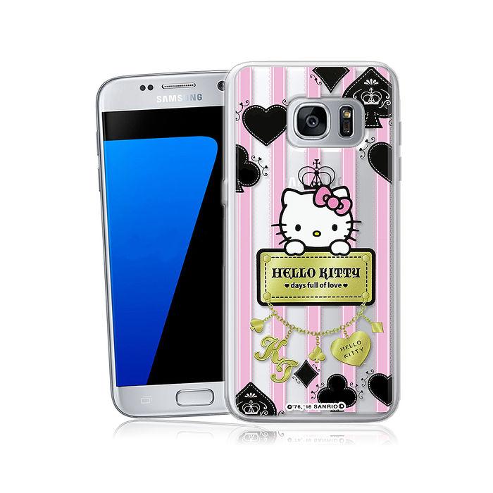 三麗鷗授權正版 Hello Kitty凱蒂貓 Samsung Galaxy S7 edge 透明軟式手機殼(撲克牌)