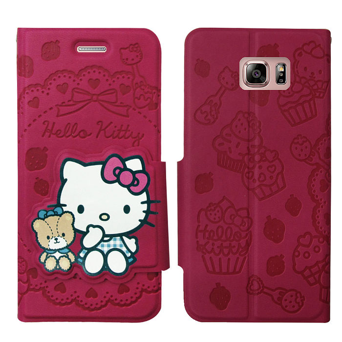 三麗鷗授權 Hello Kitty 凱蒂貓 Samsung Galaxy Note5 立體造型磁扣皮套(杯子蛋糕)