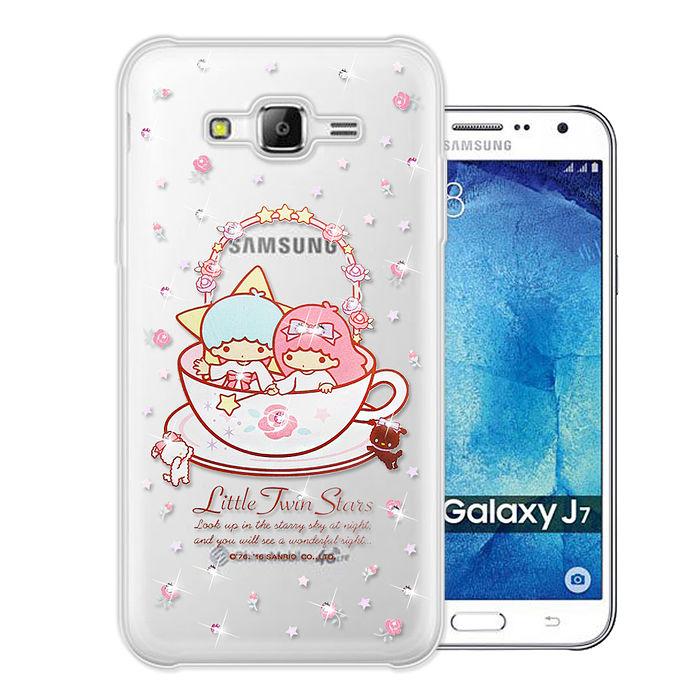 三麗鷗授權正版 雙子星仙子 KiKiLaLa Samsung Galaxy J7 水鑽系列軟式手機殼(許願杯)
