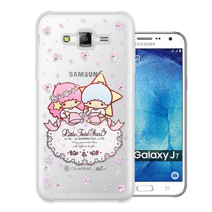 三麗鷗授權正版 雙子星仙子 KiKiLaLa Samsung Galaxy J7 水鑽系列軟式手機殼(花語蕾絲)