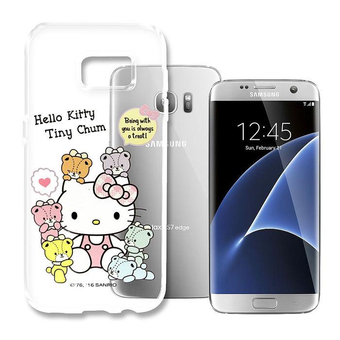 三麗鷗授權 Hello Kitty 凱蒂貓 Samsung Galaxy S7 Edge 5.5吋 浮雕彩繪透明手機殼(熊好朋友)