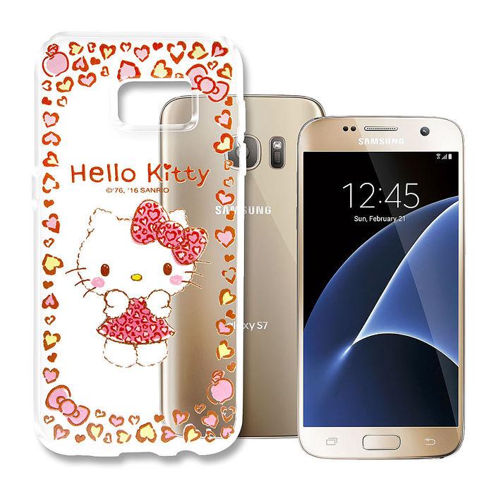 三麗鷗授權 Hello Kitty 凱蒂貓 Samsung Galaxy S7 Edge 5.5吋 浮雕彩繪透明手機殼(甜心豹紋)