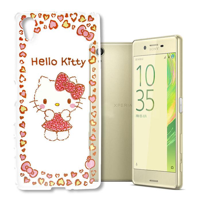 三麗鷗授權Hello Kitty凱蒂貓SONY Xperia XA(SM10)浮雕彩繪透明手機殼(甜心豹紋)