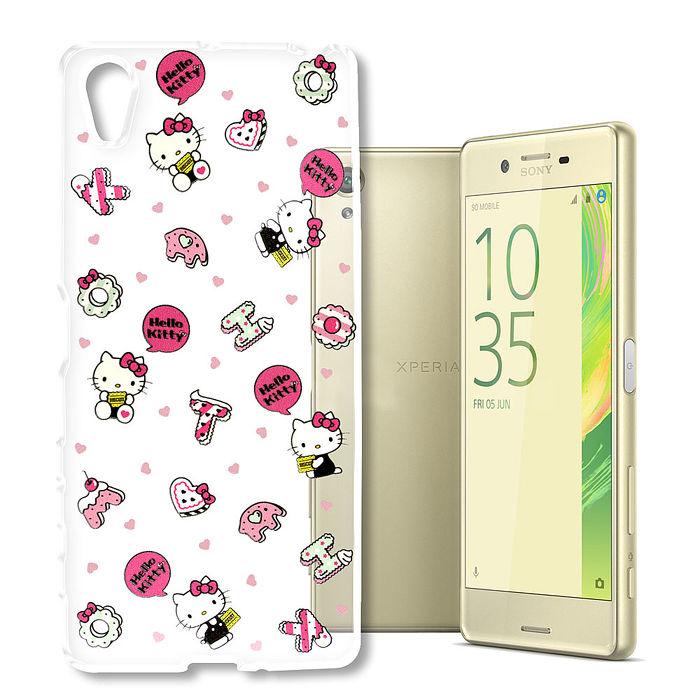 三麗鷗授權Hello Kitty凱蒂貓SONY Xperia X(PS10)浮雕彩繪透明手機殼(繽紛點心)