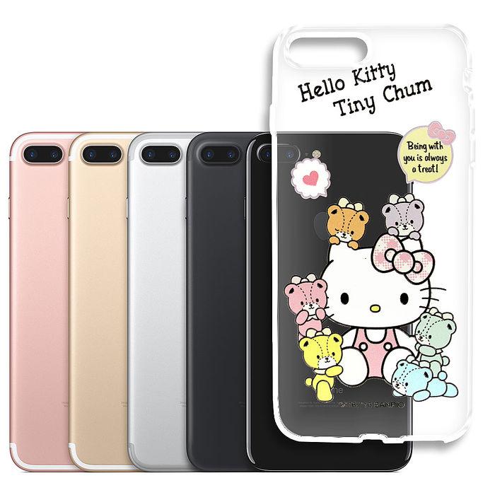 三麗鷗授權 Hello Kitty 凱蒂貓 iPhone 7 plus 5.5吋浮雕彩繪透明手機殼(熊好朋友)