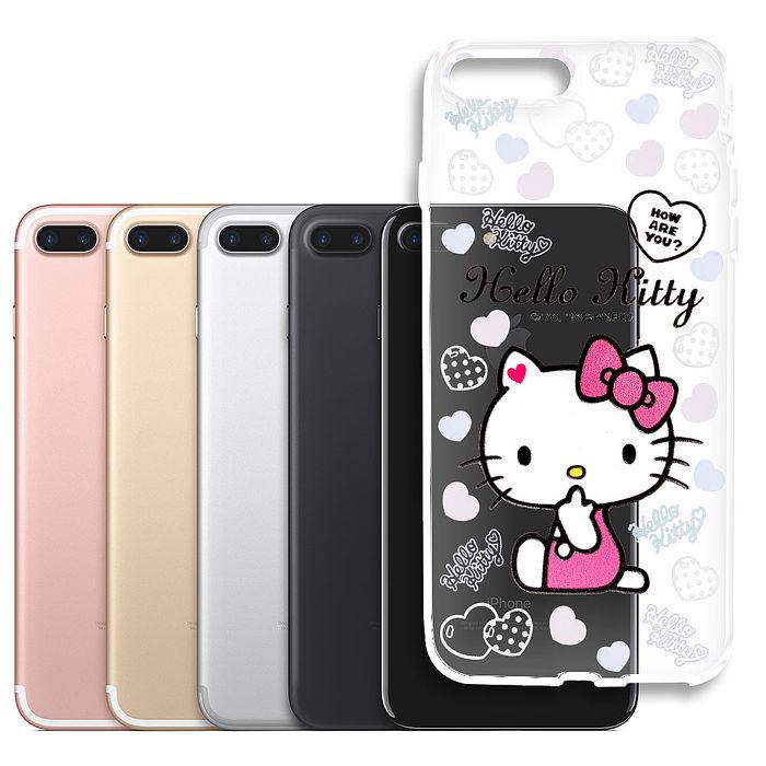 三麗鷗授權 Hello Kitty 凱蒂貓 iPhone 7 plus 5.5吋浮雕彩繪透明手機殼(心愛凱蒂)