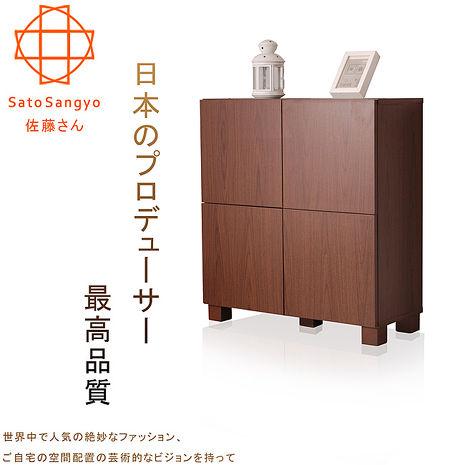 SatoFREA川久四門收納櫃‧幅72cm(胡桃木色)