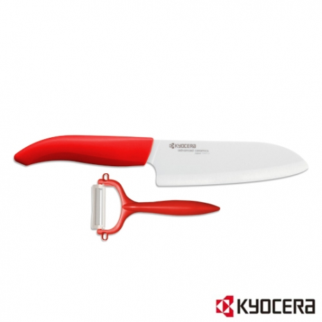特賣【KYOCERA】日本京瓷彩色陶瓷刀14cm削皮刀禮盒組(紅柄)