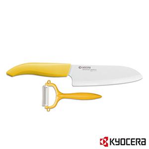 特賣【KYOCERA】日本京瓷彩色陶瓷刀14cm削皮刀禮盒組(黃柄)