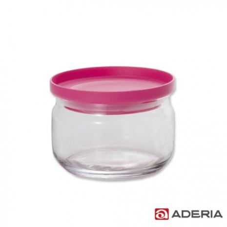 【ADERIA】日本進口堆疊收納玻璃罐360ml(桃紅)