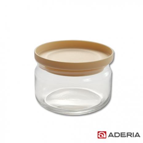 【ADERIA】日本進口堆疊收納玻璃罐360ml(米黃)