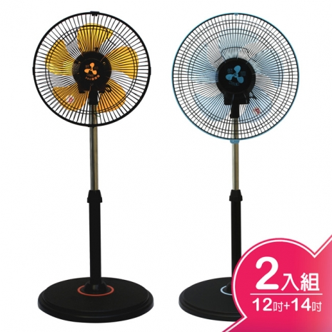 伍田12吋+14吋超廣角循環涼風扇 WT-1211+WT-1411