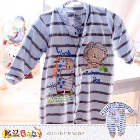 魔法Baby~法國設計獅子與長頸鹿條紋細絲絨布包腳連身衣/包屁衣~男童裝~k30600