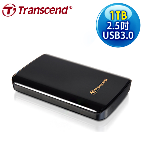 Transcend 創見 SJ25D3 1TB USB3.0 2.5吋 黑曜鏡面防震硬碟