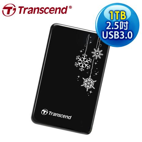 Transcend 創見 SJ25A3KRU 1TB USB3.0 2.5吋 防震外接硬碟《冬季限定雪花碟》