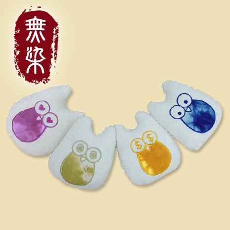 【無染】藍染貓頭鷹迷你抱枕-圓眼睛(14x16cm)