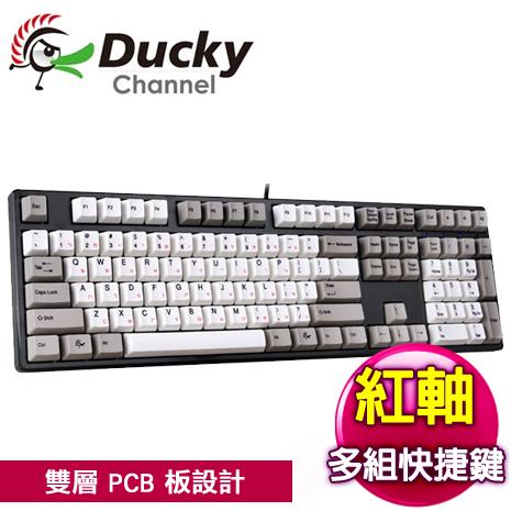 Ducky 創傑 One 紅軸 無背光 黑蓋灰白帽 機械式鍵盤《中/英版任選》