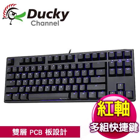 Ducky 創傑 One 80% 紅軸 藍光 黑蓋 機械式鍵盤