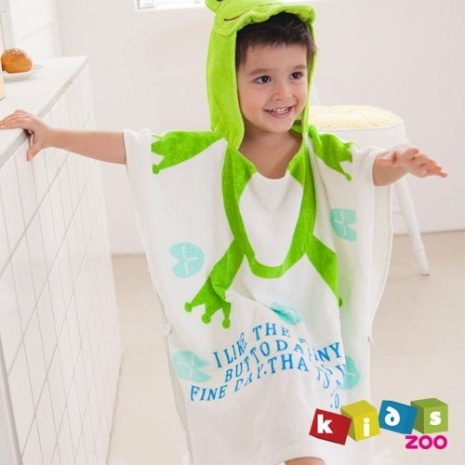 【kids zoo】連帽立體圖造型浴袍_青蛙(10款)