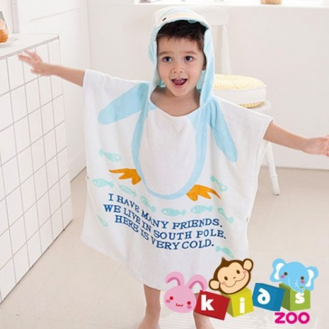 【kids zoo】連帽立體圖造型浴袍_企鵝(10款)