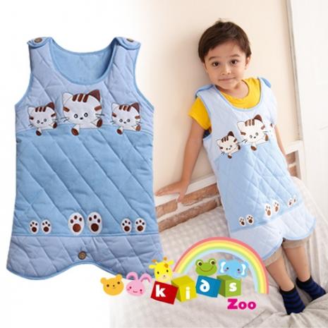 【Kids zoo】藍色貓咪背心式睡袋