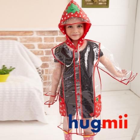 【Hugmii】透明包邊長版造型兒童雨衣_草莓