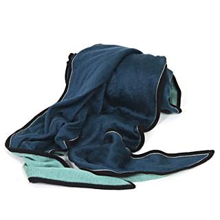 【HERMES】高質感喀什米爾羊毛混絲質披肩/絲巾(藍綠色 433727T)