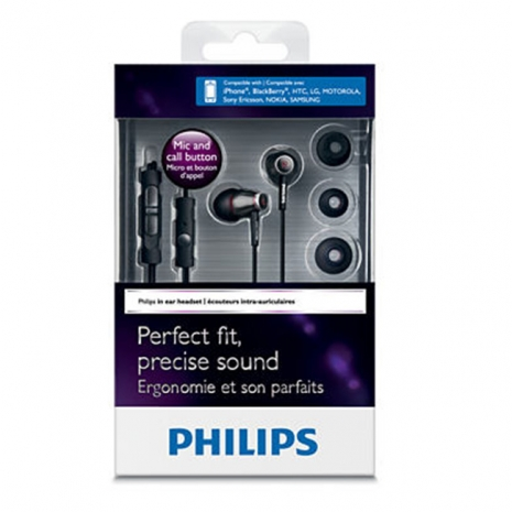PHILIPS SHE9005 (附ComplyTM 泡棉耳塞) 高音質耳道式耳機麥克風,適用所有智慧型手機