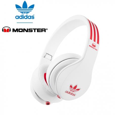 美國 Monster x adidas 聯名限量版耳罩式耳機(紅白),公司貨,附保卡,一年保固