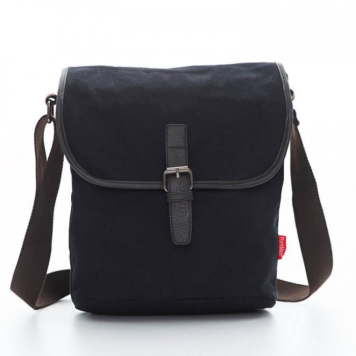 PORTMAN 簡約帆布側背包(經典黑) PM12209