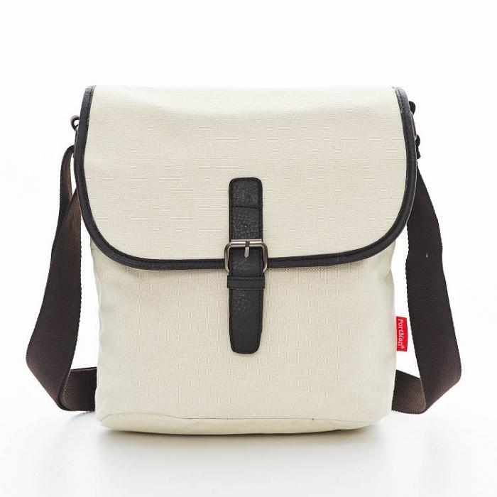 PORTMAN 簡約帆布側背包(亞麻米) PM12209
