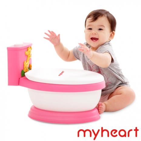 【myheart】台灣製造 專利音樂兒童馬桶-蜜桃粉
