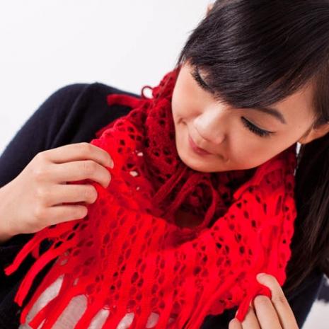 【Home Beauty】巴黎時尚經典鏤空雙色圍巾