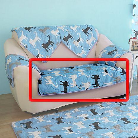 【ICE PAD】涼感精梳棉沙發布座墊-2人座椅面70*120-藍色喵喵