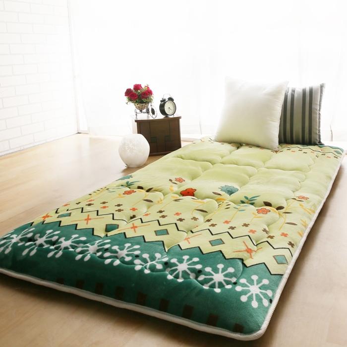 【契斯特】八公分超厚實京都日式床墊-綠春花漾(特賣)-送旅行收納三件組
