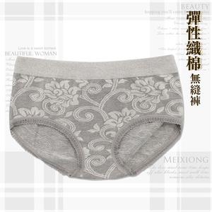 【黛瑪】MIT台灣製棉質無縫花紋刺繡美臀褲-灰-531