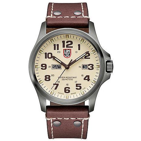 LUMINOX 雷明時 ATACAMA戰場系列藍寶鏡面腕錶-卡其x棕色時標/45mm