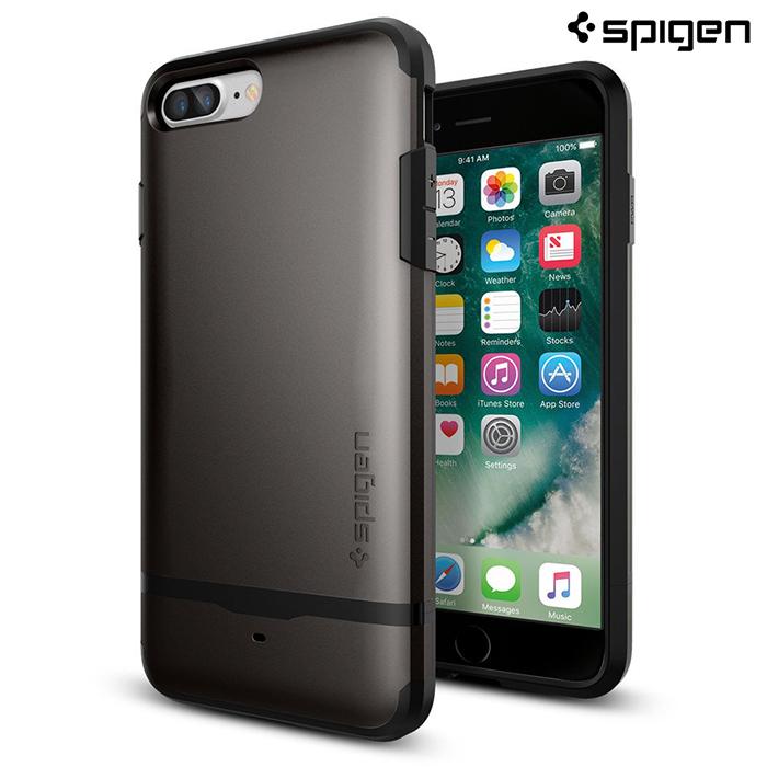 【SGP / Spigen】iPhone 7 Plus Flip Armor 卡片收納防摔手機殼 (銅灰)